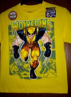 Details about T-shirt Wolverine size 10/12 NEW T-shirt printed with texture yellow 3D NWT