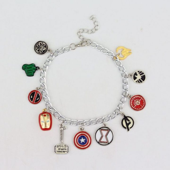 Marvel The Avengers 11 Charm Superhero Lobster Brooch Jewelry Bracelet