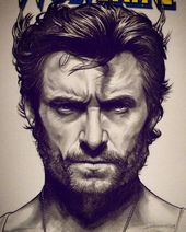 "Sean Patrick Pence on Instagram: ""❌ Happy X-Men Day! ❌ Hugh Jackman as ""Wolverine"" Hand-drawn piece of a blank cover of Marvel Comics (variant). Graphite and ink … """